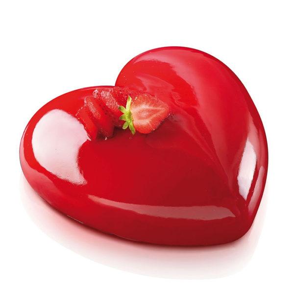 Amore 600 hjärtformad silikonform från Silikomart röd och glansig