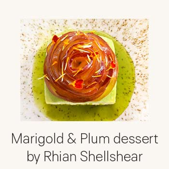 Recept Marigold and Plum dessert by Rhian Shellshear