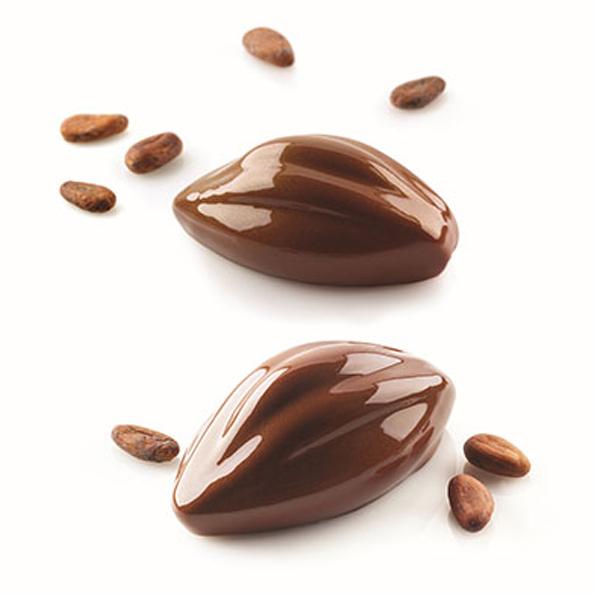 Cacao 120 kakaofrukt från Silikomart Professional är en unik sammansättning av formar för att skapa 3D kopior av kakaofrukt