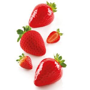 Fragola 120 Jordgubbe från Silikomart Professional är en unik sammansättning av formar för att skapa 3D kopior av jordgubbar.