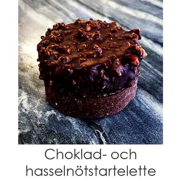 Choklad- och hasselnötstartelette