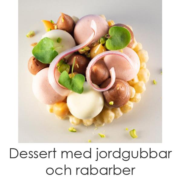 Dessert Med jordgubbar och rabarber